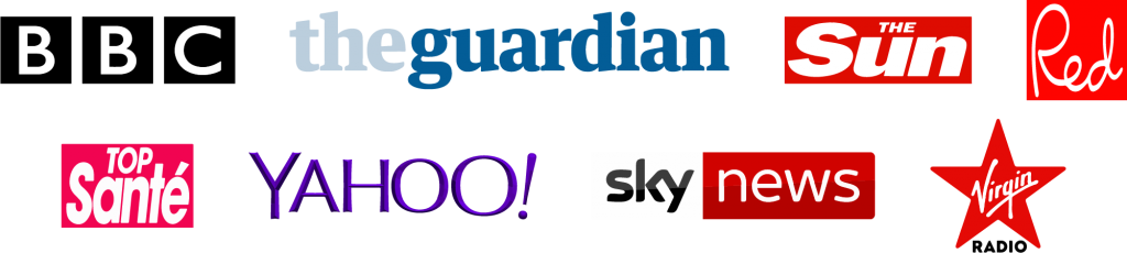 Logos for BBC, The Guardian, The Sun, Red magazine, Top Sante, Yahoo, Sky News and Virgin Radio